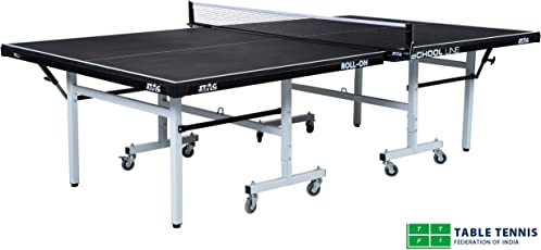 Stag School Line Table Tennis Table Top Thickness 22 mm with Net Set, Table Cover, 2 Racquets and 6 Balls Features Quick Assembly and Play Back Mode