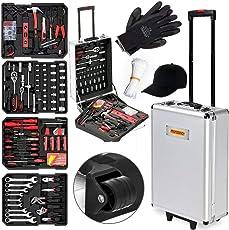 Monzana® Werkzeugkoffer gefüllt 729tlg | abschließbar | Aluminium Rollkoffer | inkl. vielseitigem Zubehör & Arbeitshandschuhen | Modellauswahl - Werkzeugkasten Werkzeugkiste Werkzeug Trolley bestückt