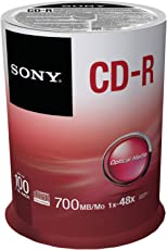 Sony 100CDQ80SP CD-R Data Recordable Media, 100 Pack Spindle