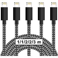 MVQIN iPhone Ladekabel [5Stück 1/1/2/2/3M] Lightning Kabel Nylongeflecht Schnellladekabel and Datenkabel für Phone 11…