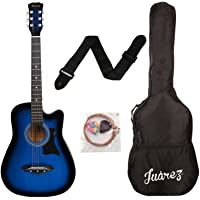 Juârez Acoustic Guitar, 38 Inch Cutaway, JRZ38C with Bag, Strings, Pick and Strap, TBS Transparent Blue Sunburst
