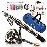 BNTTEAM Mulinello da Pesca e Asta Combos telescopica Portatile Resistente, al 99% al Carbonio, Sea Fishing Rod & Reel+Esche A