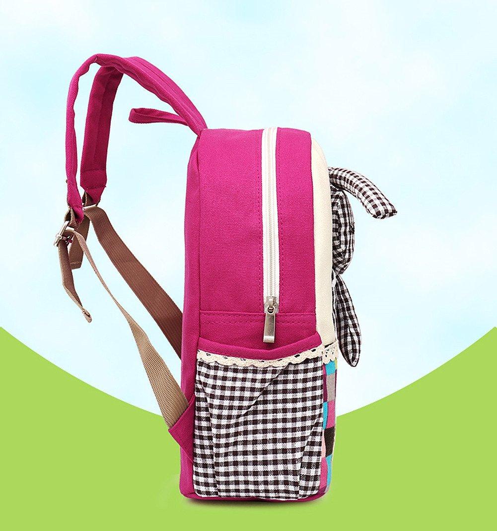 Moolecole Cartoon 3D Rabbit Doll Kids Kindergarten Mochila Canvas Toddler Girls Nursery School Bag Bookbag