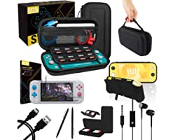 Orzly Switch Lite Accessories Bundle - Case & Screen Protector for Nintendo Switch Lite Console, USB Cable, Games Holder, Com