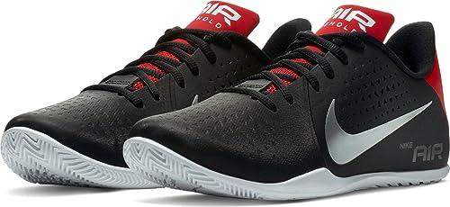 Nike Men's Mesh Air Behold Low Basketball Shoe, 8 M US(Black, Metallic, Silver and White, 898450-006)