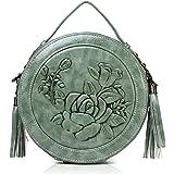 MEITRUE Runde Handtasche Damen Veganes Leder kleine Umhängetasche Damen Schultertasche Elegante Crossbody Bag Frauen Hand Tas
