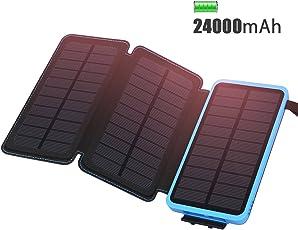 ADDTOP Solar Ladegerät 24000mAh Wasserdicht Power Bank mit 3 Solarzelle Tragbares Externe Akku Batterien für iPhone, iPad, Samsung, Android und Andere Smartphones