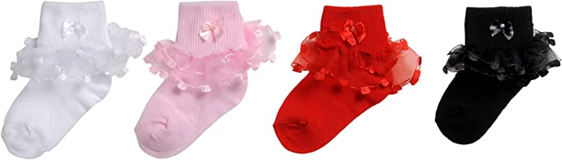 CAMEY Cotton Baby Bow Design Frill Socks (Ca0000132Fs -Multicolour -1-2 Years) (Pack Of 4)