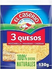 El Caserío Queso Rallado 3 Quesos Mozzarella, Emmental y Cheddar, 130g