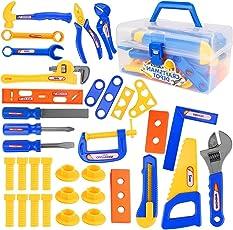 VAMEI 37 stücke Kinder Pretend Spielen Spielzeug Werkzeug Set Werkbank Bau Workshop Toolbox Werkzeuge Kit Werkzeugkasten