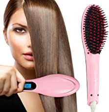 Gadgetronics Women's Electric Comb Brush Nano 3 in 1 Straightening LCD Screen with Temperature Control Display (Colour May Vary)