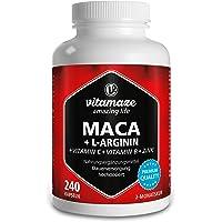 Vitamaze® Maca Capsule ad Alto Dosaggio 4000 mg Polvere + L-Arginina + Vitamine + Zinco, 240 Capsule per 2 Mesi, Qualità…