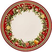 Villeroy & Boch Winter Bakery Delight Assiette plate, 27 cm, Porcelaine Premium, Blanc/Rouge
