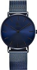 Alienwork IK Armbanduhr für Herren Damen Slim Uhr Ø40mm mit Milanaise-Armband