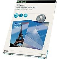 Leitz 74870000 Pochettes de plastification, Matériau Épais de 100 Microns (Transparent, Brillant, A3) - Pack de 100
