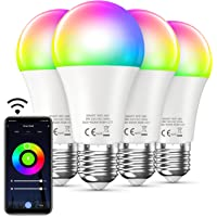 Bewahly Lampadina WiFi, E27 RGB Intelligente lampadine led 4 Pcs