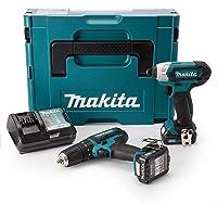Makita CLX202AJ 10.8V CXT 2x2.0Ah Li-ion Combi/Impact Driver Kit, 600 W, 10.8 V