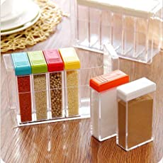 Gooseberry Plastic Spice Jar Seasoning Kitchen Condiment Storage Box(Transparent, 19x11.5x7cm) - Set of 6