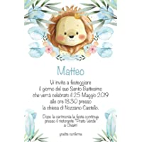 Biglietti Inviti battesimo personalizzati leone - partecipazioni battesimo bimbo set da 10 biglietti