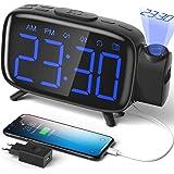 Projektionswecker Radiowecker digitaler Wecker mit Projektion Tischuhr mit 3 stufige Helligkeit 180 ° Projektion 7 Alarmtöne Snooze FM Radio USB-Anschluss von ELEHOT (blau)