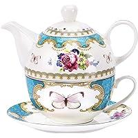 fanquare Ensemble de Théière en Porcelaine de Motif Fleurs Roses,Théière avec Tasse À Café et Soucoupe en Turquoise pour…