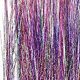 Homgaty, lot de 200extensions de cheveux, guirlande de cheveux brillante. Mèches de rajouts multicolores pour femme