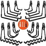 AojSup 12pcs Crochets Utilitaires,Crochet Double de Stockage de Garage en Acier Avec Revêtement Anti-Dérapant, Crochet Carré,