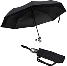 Kurtzy Windproof Pocket Umbrella Compact Folding with Ergonomic Handle & Protective Travel Sleeve-Parasol Anti-UV Sun Rain Protection Umbrella