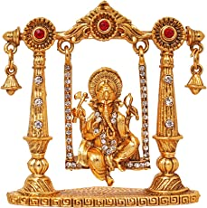 ART N HUB Brass 24 K Gold Plated With Stones Hindu God Shri Ganesh Showpiece Figurine for Mandir /Temple/ Home Decor/ Office /Study Table/Car