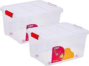 Multi Purpose Kids Toy Storage Box (Pack of 2) - Plastic (50 LTR. Transparent Combo) (NY-001560-50TP-2PC)