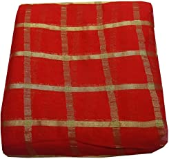 Shopolics Red and Golden Large Checkes Design Chiffon Fabric-29002 For Wedding, Festival, Party Wear (1 Meter)