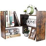 EasyPAG Wood Small Desk Shelves Adjustable Mini Desktop Bookshelf Freestanding Bookcase Home and Office Desk Tidy Organiser,B