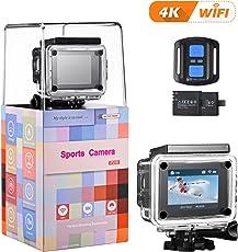 "4K Action Kamera, VTIN WIFI sports cam 16MP Ultra Full HD Unterwasserkamera Helmkamera 2""LCD mit 2.4G Fernbedienung camera mit 2Pcs 1050mAh Akkus und kostenlose Accessoires"