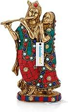 Collectible India Brass Radha Krishna Idol Beautiful Hindu Divine Love Couple Statue Home Dã©Cor Anniversary Gift