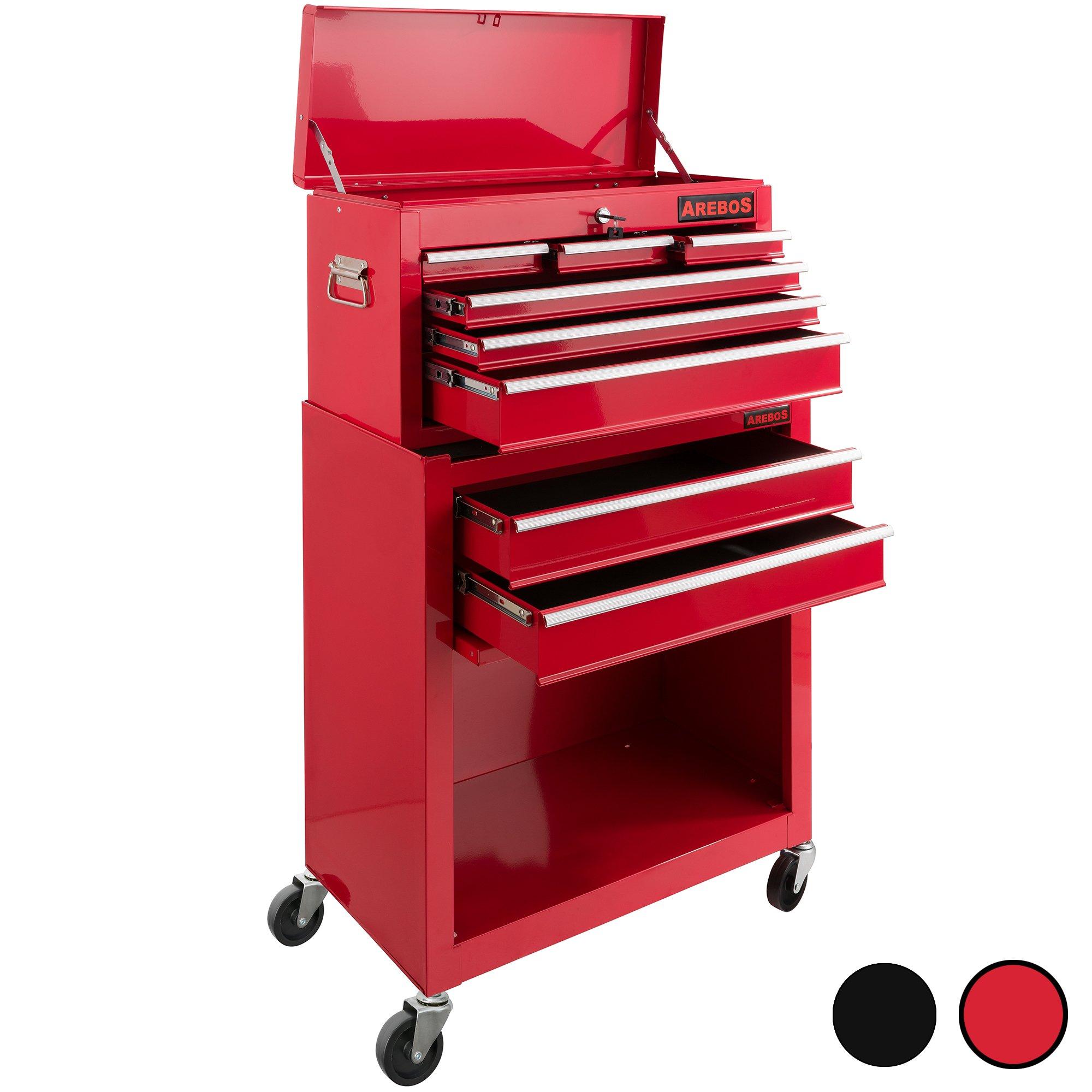 Arebos Werkstattwagen mit 9 Fächer, abschließbar, Antirutschmatten, rot