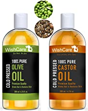 Wishcare Cold Pressed Castor & Olive Carrier Oil - 200Ml Each