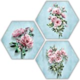ARTAMORI MDF Pink Rose Hexagon Painting, Multicolour, Floral, 21.5 x 21.5 inch, Set of 3