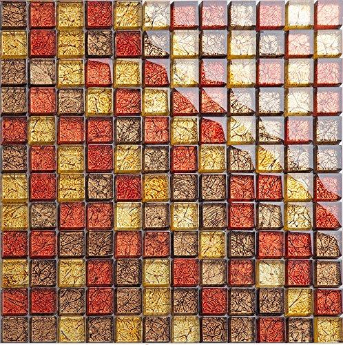 Goldfolie Glas Mosaik Fliesen, strahlende Wohnkultur Fliesen, wasserdichte moderne Küche Backsplash Fliesen, Mesh elegante Wandmosaik montiert. Kostenloser Versand, LSJB02 (300x300mm/Stück) -