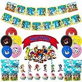 BAIBEI sonic sombrero de fiesta de cumpleaños Sonic globo Sonic banner de cumpleaños música pastel sombrero de copa, bolsa de