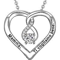 LOVORDS Collana Donna Incisa Personalizzata Argento Sterling 925 Pendente Ciondolo Cuore Infinito Regalo Mamma Madre…