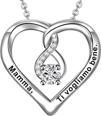 LOVORDS Collana Donna Incisa Personalizzata Argento Sterling 925 Pendente Ciondolo Cuore Infinito Regalo Mamma Madre Fidanzata Moglie Nonna Figlia