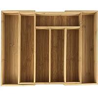 GMMH Range-couverts en bambou - Organiseur de cuisine - Tiroir en bois naturel (33,5 x 29 x 4,5 cm)