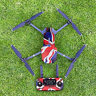 Beetest-EU-Fashion Portable Self-adhesive Sticker Fuselage Battery Remote Control Drone Cover Skin Decoration Accessory Gift for DJI Mavic Pro Drone United Kingdom Flag Pattern