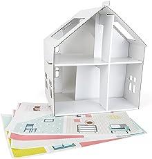 Tektorado 10761 Puppenhaus aus Pappe Zum Bekleben, Leichtes Aufbauen mit Praktischem Griff Zum Transport, Inkl. Schöne Aufkleber Zum Verzieren, Fördert Kreativität und Motorik