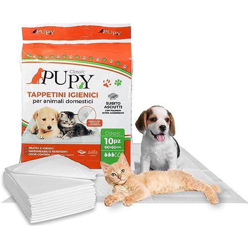 PuPy 100 Classic Tappetini Igienici Assorbenti per Cani, 60x60, con Adesivi, Polimeri Ultra-assorbenti, addestramento pipì Animali Domestici (100 PZ 60x60)