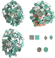 Round, Square & Diamond Cut Mirror Beads Combo for Mosaic Making, Craft Mirror Also Used in Embroidery. (Each has 500 pcs, Total 1500 pcs)