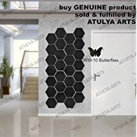 Wall1ders Atulya Arts - 3D Hexagon Acrylic Stickers (Pack of 28) with 10 Butterflies, Acrylic Mirror Wall Stickers for Home & Offices (Black)