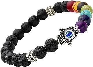 Young & Forever Black D'Vine 8Mm Lava Stone 7 Chakra Hamsa Hand Evil Eye Healing Yoga Beads Strand Bracelet For Women , Men, Girls, & Boys