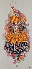 Zampiva Bild mit Holzplatte von 1,5 cm und handgefertigter Clown aus Keramik mit Perlmuttdetails.