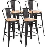 HOMCOM Lot de 4 tabourets de Bar Industriel avec Dossier Repose-Pied Hauteur Assise 76 cm métal café foncé Panneaux Multicouc